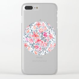 Coral and Grey Candy Striped Crayon Floral Clear iPhone Case