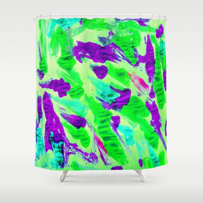 Foil Monoprint Green Shower Curtain