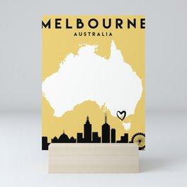MELBOURNE AUSTRALIA LOVE CITY SILHOUETTE SKYLINE ART Mini Art Print