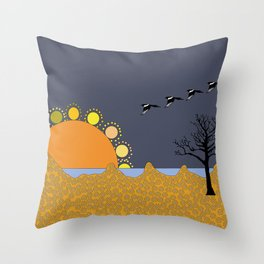 Magpies in sunset Throw Pillow