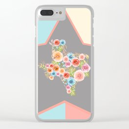 Texas Watercolor Flowers Clear iPhone Case