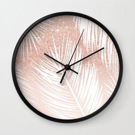Modern trendy white palm tree leaf pattern on rose gold glitter blush pink Wall Clock