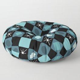 Mid Century Modern Black & Turquoise Diamonds Floor Pillow