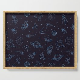 Blue Space Pattern Serving Tray