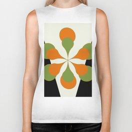 Mid-Century Modern Art 1.4 - Green & Orange Flower Biker Tank
