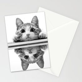 Cat reflected Stationery Cards