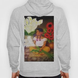 Girl with Calla Lilies and Red Mexican Sunflowers by Diego Rivera Hoody
