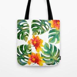 Monstera And Hibiscus Tote Bag