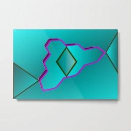 Geometrical fantasy in turquoise ... Metal Print