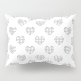 Gray and White Gingham Hearts on White Pillow Sham