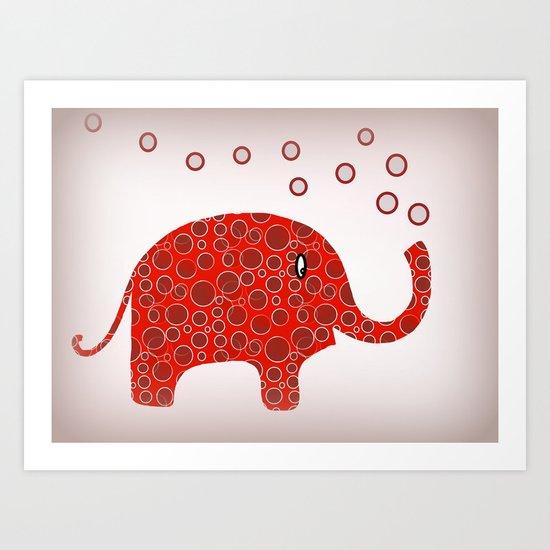 Red Circles Elephant Art Print
