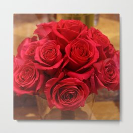 Lipstick Red Roses With Old Hollywood Glamour Metal Print