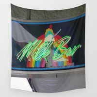 bar Wall Tapestries featuring milk bar by Michelle Loidl