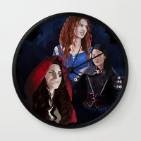 ouat Wall Clocks featuring Warrior Women of OUAT by Christine Ring