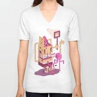 spongebob V-neck T-shirts featuring Spongebob by Mike Wrobel