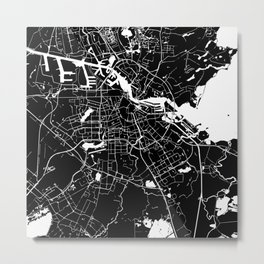 Amsterdam Black on White Street Map Metal Print