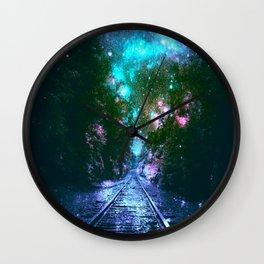 train tracks Next Stop Anywhere bright Wall Clock