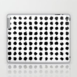 Black and White Minimal Minimalistic Polka Dots Brush Strokes Painting Laptop & iPad Skin
