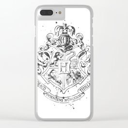 Hogwarts Crest Black and White Clear iPhone Case