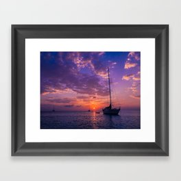 Sailboats at sunset in Roatan Framed Art Print