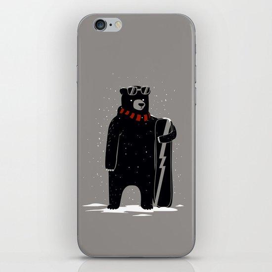Bear on snowboard iPhone & iPod Skin