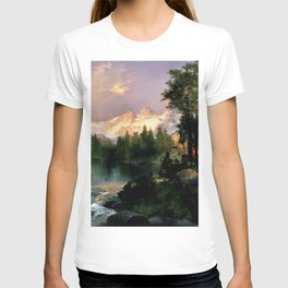 The Three Tetons, Grand Teton Mountains, Jackson Hole, Wyoming by Thomas Moran T-shirt