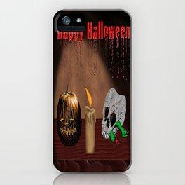 Happy Halloween Skull And Jack O'Lantern iPhone Case