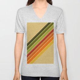 Retro 70's Colors Diagonal Stripe  Unisex V-Neck