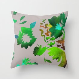 Dark Flora Throw Pillow