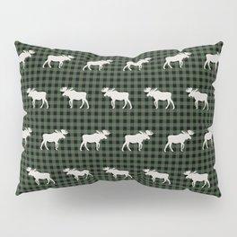 Moose northwest camping cabin chalet pattern plaid hunter green Pillow Sham