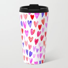 Watercolor Hearts pattern love gifts for valentines day i love you Travel Mug