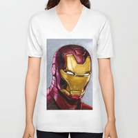 ironman V-neck T-shirts featuring IronMan by Morales
