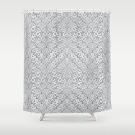 Grey Concentric Circle Pattern Shower Curtain