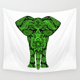 Green Elephant Wall Tapestry