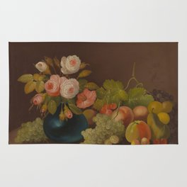 William Buelow Gould - Cabbage Roses And Fruit Rug