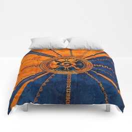Hunab Ku Mayan symbol Orange and Blue Comforters