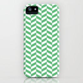 Emerald Green Herringbone Pattern iPhone Case