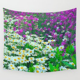 Wildflower White and Purple Daisies in A Meadow Wall Tapestry