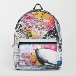 Breaching Orca Watercolor Rainbow Ancient Map Backpack
