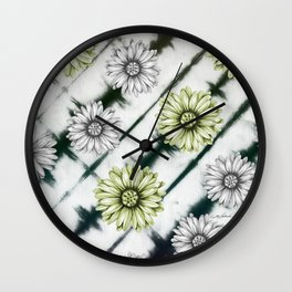 Green Daisies Smile Wall Clock