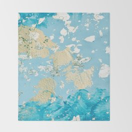 Gold Abstract Modern Painting Throw Blanket