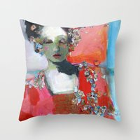 dress Throw Pillows featuring Red Dress by Corinne Galla Studios