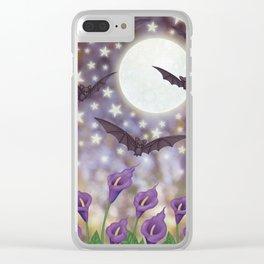 the moon, stars, bats, & calla lilies Clear iPhone Case