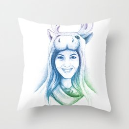 Speechless Collection - Moose Woman Throw Pillow