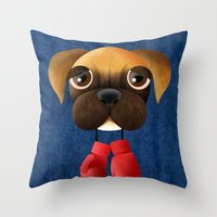 boxer Throw Pillows featuring Boxer by Sloe Illustrations
