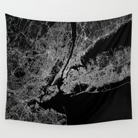 new york map Wall Tapestries featuring New York map by Line Line Lines