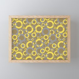 Gray Yellow Brown Funky Ring Pattern V9 2021 Color of the Year and Accent Shades Framed Mini Art Print