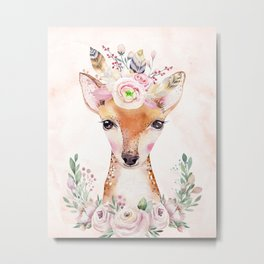 Forest Fawn Floral Pink by Nature Magick Metal Print
