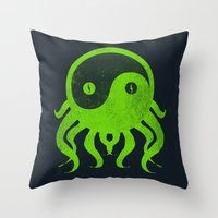 cthulu Throw Pillows featuring yin yang cthulu by frederic levy-hadida