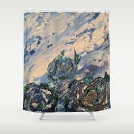 Blue flowers of the mist Shower Curtain